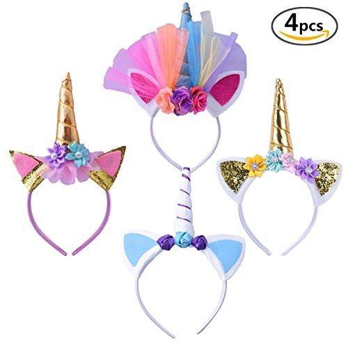 Geboor 4 Pack Unicorn Horn Headband Hair Hoop Cosplay Costume for Birthday Celebration Party Festivals