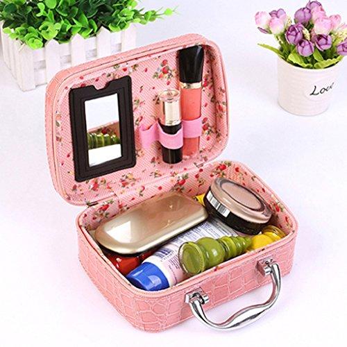 hscd1976 Cosmetic Makeup Cosmetics Zipper Organizer Box Custodia per il bagno da viaggio Rosa