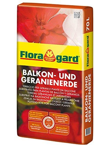 Floragard Balkon- und Geranienerde 70 L • Spezialerde • zum Pflanzen von Geranien und anderen anspruchsvollen Balkonpflanzen • mit dem Naturdünger Guano und Vital-Ton