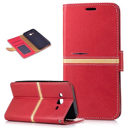 Kompatibel mit Galaxy J5 Hülle,Galaxy J5 Schutzhülle,PU Lederhülle Flip Hülle im Bookstyle Ständer Wallet Soft Silikon Magnetverschluss Kunstleder Hülle Tasche Tasche Schutzhülle für Galaxy J5,Rot