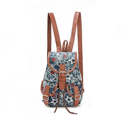 BHYDRY donne stelle stampa coulisse zaino shopping bag borsa da viaggio(25cm*18cm*9cm,C)
