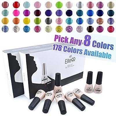 Elite99® Pick Any 8 Colours Soak Off Gel Nail Polish Top Base Coat 8pcs Manicure Gift Set