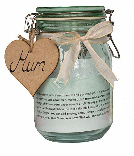 Moonlight Memories Maman Pot Cadeau pour la fête des mères – Remplir avec cadeaux d'amour – Bocal Vert avec votre choix de ruban