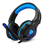 BUTFULAKE Gaming Headset for Xbox One PS4 PlayStation 4 Nintendo Switch PC Smartphone, 3.5mm Stereo Gaming Sound Over-Ear Headset Noise Cancelling Wired Headset with Mic and LED Light