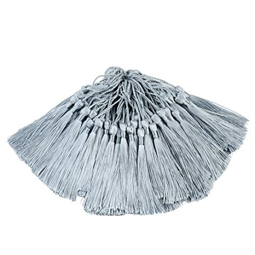 100pcs 13cm / 5 Zoll Quaste Machen Handgemachte Quaste mit 2 Zoll Schleife für die Herstellung von Schmuck, Souvenirs, Lesezeichen Quaste, DIY Handwerk Zubehör (Grau)