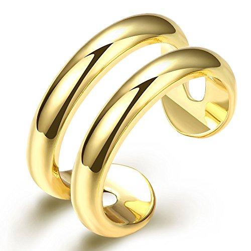 FJYOURIA Frauen offene Doppellinie Ring 18ct Gold / Silber überzogen Ring Daumen Rinde Midi Knöchel Ringe (18 Karat (750) (Kostüm Uk Ungewöhnlicher Schmuck)