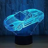 XYD Illusion-Nachtlicht 3D, USB-angetriebene 7 Farben Blinkender Notenschalter Schlafzimmer-Dekoration-Beleuchtung für Kinder (Farbe : 2)