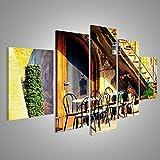 Quadro moderno Tavoli e sedie in un bistrot in Italia Stampa su tela - Quadro x poltrone salotto cucina mobili ufficio casa - fotografica formato XXL