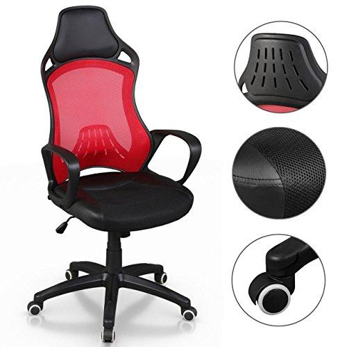 Bürostuhl Racing Sportsitz Chefsessel Drehstuhl Schreibtischstuhl Bürodrehstuhl inkl. Armlehnen Schwarz-Rot