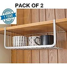 Callas Set of 2 Under Shelf Basket Wire Rack Slides Under Shelf, Kitchen Organizer, White, Medium