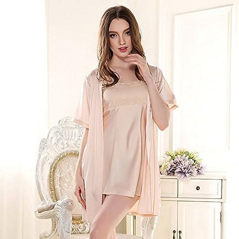 XMQC*Dos equipación Camiseta cubierta se desliza noble princesa encantadora pijama albornoz y tentación sexy de seda de hielo ,165(L), con color champán