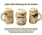 Holz Bierkrug mit Gravur – personalisiert mit Name – individuelles Geschenk, jeder Holzkrug ist ein echtes Unikat! Geschenkidee für Bierfreunde, Sammlerstück, bayerische Souvenirs – typisch deutsche Geschenke von Geschenkissimo - 4