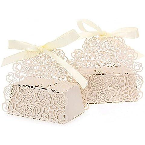 lavinaya 5roses Flores Boda Candy Caja Chocolate Candy Soportes Bomboniere – Recuerdo de la fiesta efecto laser cut con lazos para ducha de novias, boda, fiesta, regalo de cumpleaños (Beige)