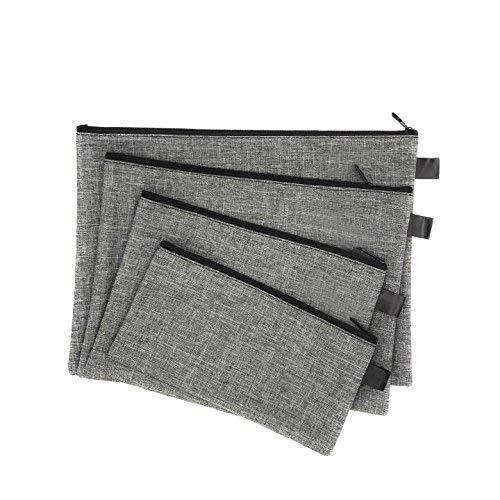 Mehrzweck-Taschen mit Reißverschluss für Bargeld, Quittungen, Papiere, Karten, Kosmetik, USB-Kabel, Taschen in 4 Größen  grau