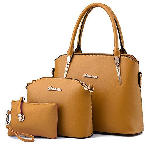 fanhappygo Fashion Retro Leder Abendtaschen Damen Schulterbeutel Umhängetaschen a set gelb