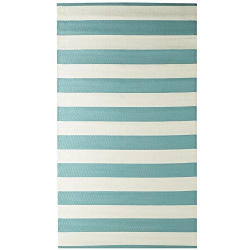 iCustomRug Como Outdoor Teppich Kollektion, Wendbar, Picknick und Strand Teppich, Perfekt für Terrasse, Camping, BBQ & Mehr 9'X12' Stripe Aqua Blue - Terrasse Kollektion