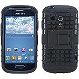 kwmobile Hybrid Outdoor Hülle für Samsung Galaxy S3 Mini mit Ständer - Dual TPU Silikon Hard Case Handy Hard Cover in Schwarz