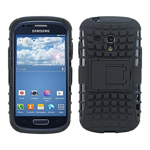 kwmobile Hybrid Outdoor Hülle für Samsung Galaxy S3 Mini i8190 mit Ständer - Dual TPU Silikon Hard Case Handy Hard Cover in Schwarz