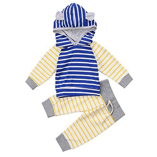 Chicolife Unisex Baby Jungen Mädels Tier Ohr Hooded Sweatshirt + Hose Outfits Kleidung Gesetzt Gestreifte Oberteile