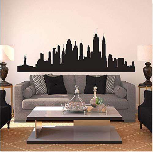 New York City Skyline Silhouette Muster Wandtattoo Benutzerdefinierte Vinyl Wohnkultur Für Wohnzimmer Schlafzimmer Kunst Flugzeug Wandaufkleber 57X20 Cm