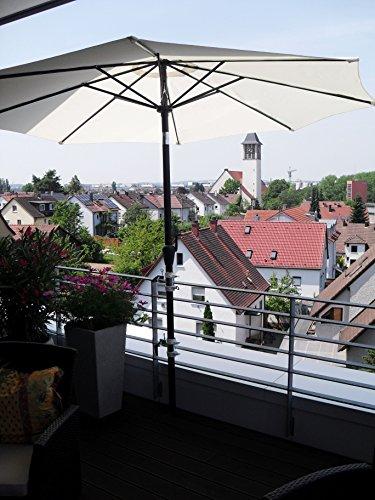 2 x 40 mm edelstahlhalterung de parasol pour fixation Support de 25,5 mm jusqu'à 55 mm Ø - Sunrise Parasol pour balcon pour intérieur ou extérieur avec 11 + 6 cm Distance Porte-parapluie - Holly breveté - pour fixation au ronde ou eckigen Éléments avec jusqu'à 40 mm de diamètre avec la support - universel rotatif à 360 ° avec capuchons en caoutchouc pour une fixation kratzfreien - Support pivotant à 360 ° - Distance Avec Prises de parasol pour de 25,5 jusqu'à Ø 50 mm avec 13 cm 15,24 x enregistrement Douille