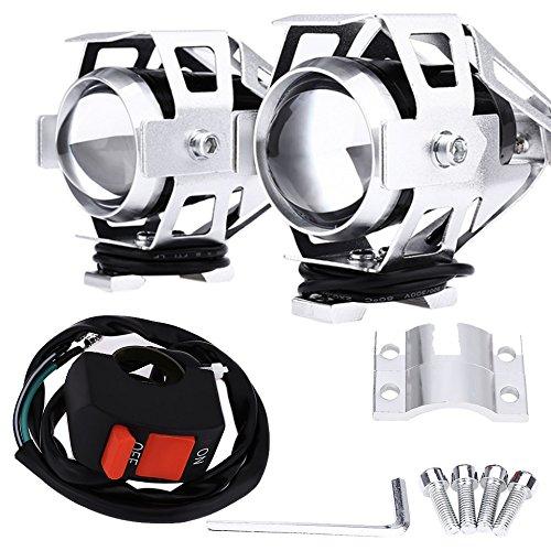 2x Faretti Silver Aggiuntivi Moto Universali a LED Fari di Profondità per tutte le moto