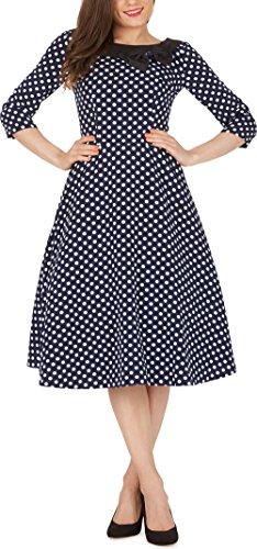 BlackButterfly Iris' Polka Dot Vintage Rockabilly Swing 1950s Dress (Midnight Blue – White Dots, UK 24)