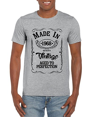 Red Leader Clothing Made In 1968 50 Years T Shirt 50th Birthday Vintage Gift Novelty 2018 Slogan XL Grey