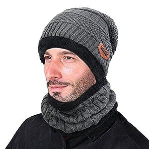 Cappello Uomo invernale Berretti e Sciarpe Uomo con sciarpa Uomo Berretti in maglia (Grigio)