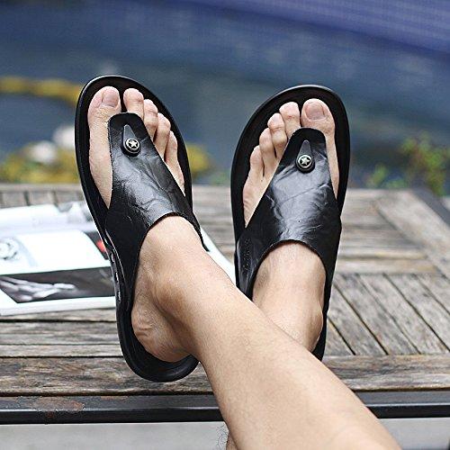 ZHANGJIA Flip Flops, Herren Hausschuhe, Rutschfeste Schuhe, Sandalen, Sandalen, Sandaletten, Sandalen, Sandaletten und Sandalen, 45,589 Schwarz