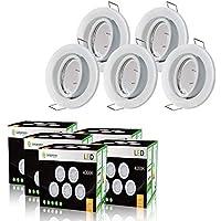 LOT DE 40 SPOT LED ENCASTRABLE COMPLETE ORIENTABLE BLANC AVEC AMPOULE GU10 230V eq. 50W, LUMIERE BLANC NEUTRE