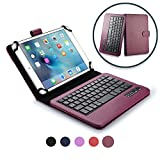 Custodia Acer Iconia Tab A110 Tastiera, Cover Tastiera Cooper Infinite Executive 2-in-1 Bluetooth Wireless Magnetica Protettiva Tablet Pelle A Libro Viaggio con Supporto (Viola Scuro)
