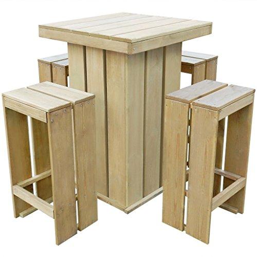 WEILANDEAL Gartenbar Set 5-Teilig Holz Kiefer imprägniert 75x75x110 cm Set aus Edelstahl Lieferumfang: 1 Tisch, 4 Barhocker
