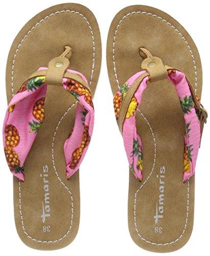 Tamaris Damen 27109 Pantoletten, Pink (Pink Pineapple), 36 - Flache Sandalen Frauen Schwarze