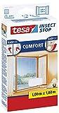 tesa Insect Stop COMFORT Fliegengitter für Fenster / Insektenschutz mit selbstklebendem Klettband in Weiß / 100 cm x 100 cm (4er Pack)