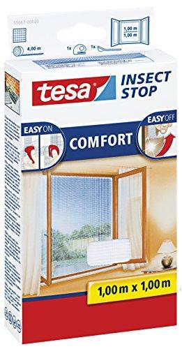 Preisvergleich Produktbild tesa Insect Stop COMFORT Fliegengitter für Fenster / Insektenschutz mit selbstklebendem Klettband in Weiß / 100 cm x 100 cm (5er Pack)