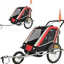 Remolque de bici para niños completamente amortiguado con kit de footing, color: rojo 503-01
