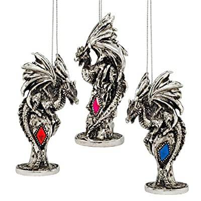 Design Toscano 3 Dragons of the Amesbury Holiday Gemstone Ornament Set