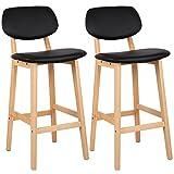 WOLTU BH51sz-2 2 x Barhocker 2er Set Barstühle Gut Gepolsterte Sitzfläche und Rücklehne aus Kunstleder Design Stuhl Holz Schwarz