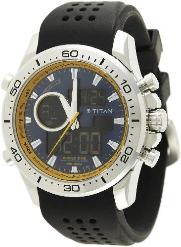 Titan Octane Analog-Digital Blue Dial Men's Watch - 9455SP04