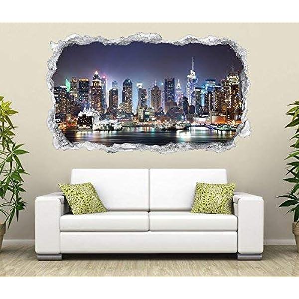 New York Skyline 3D-Look Durchbruch Wandtattoo Aufkleber-Sticker