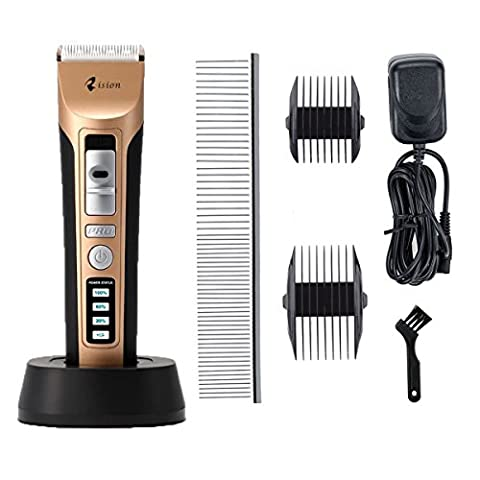 Rision Low Noise Rechargeable Cordless Pet Hair Clipper - Professional Heavy Duty Pet Clippers Grooming Kit, Animal Clippers Pet Grooming Kit for Thick Hair Dogs, Cats, Rabbits and Horses (Gold)