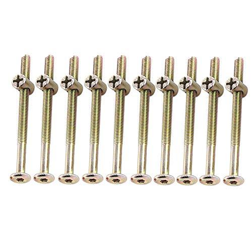 M6 Möbelschrauben 40 mm/ 60 mm/ 80 mm/ 90 mm/ 100 mm, verzinkter Karbonstahl, mit Zylindermuttern, Dübelmuttern, Steckerhalterung, 10 Stück, TRTA000718
