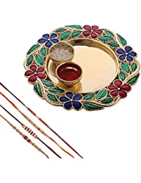 Mela Rakshabandhan Rakhi With Decorative Pooja Plate And Kumkum Chawal For Men/Boys- Set Of 3