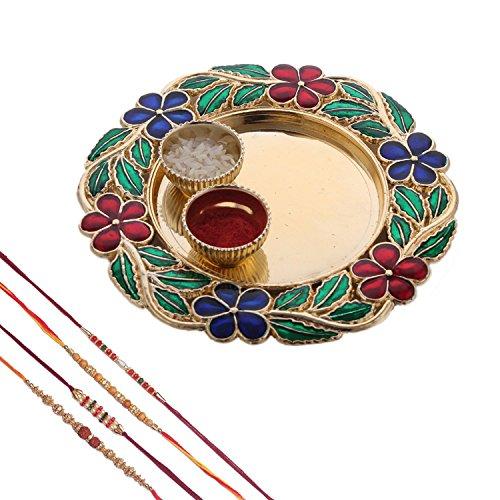Mela Rakshabandhan Rakhi With Decorative Pooja Plate And Kumkum Chawal For Men/Boys- Set Of 3