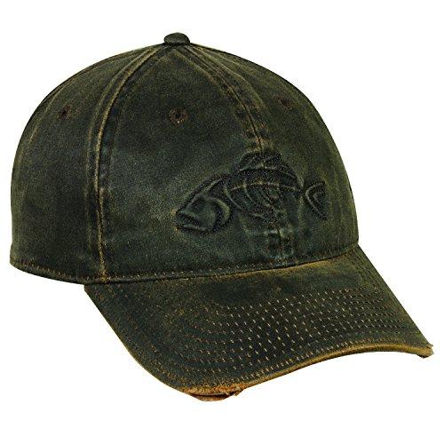 Outdoor Cap Adjustable Closure Bonefish Weathered Cotton Cap, Dark Brown