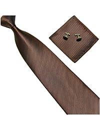 Cravate en soie mélangée à rayures brun/brun foncé cravate de mariage marié fiançailles lot de 3 pièces cravate, pochette et boutons de manchettes de Gassani Milan