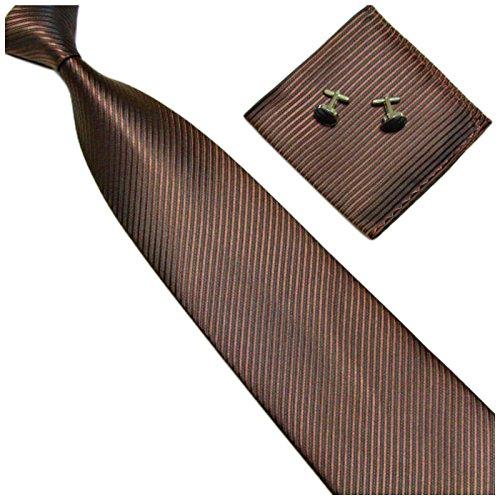 GASSANI 3-SET Braune Krawatte Streifen gestreift | Binder Dunkel-Braun Manschettenknöpfe Einstecktuch | Krawattenset zum Anzug Seide-Optik - Streifen Krawatte
