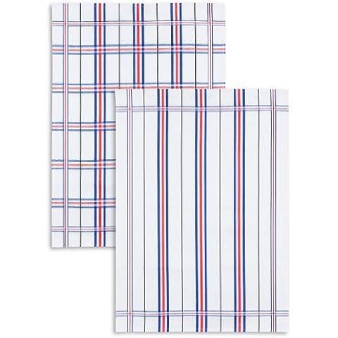 2-pezzi Jacquard stadtmeister, mezzo lino, Trio lino, a quadri/a righe assortiti, bianco-blu-rosso, 50 x 70 cm - 00 Bianco Trio