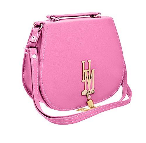 BFC-Buy For Change Stylish Elegant Multi Pocket Sling Side Bag Cross Body Purse with Adjustable Strap For Women And Girls (Pink Bag)